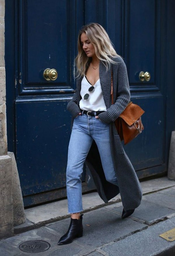 It girl - regata-branca-cardigã-calça-jeans - cardigã - meia estação - street style