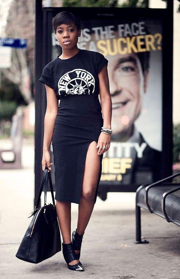 It girl - saia-lapis-fenda-tshirt-preta - all-black - verão - street style