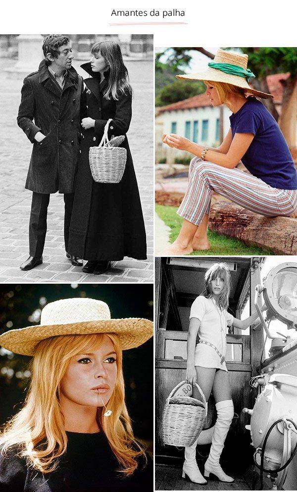 Jane Birkin e Brigitte Bardot - vintage - bolsa e chapeu de palha - verão e inverno - street style