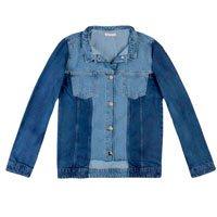 Jaqueta Jeans Bicolor Com Recorte Cropped