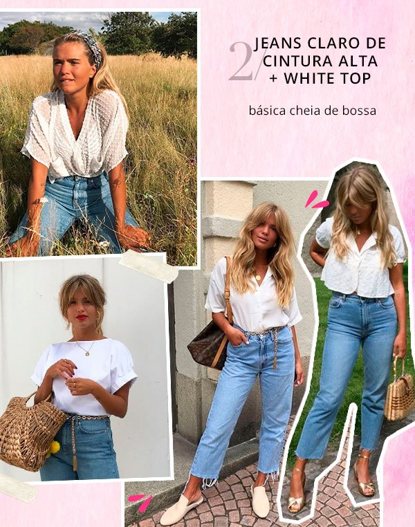matilda djerf - top branco cintura alta jeans - cintura alta - verão - street style