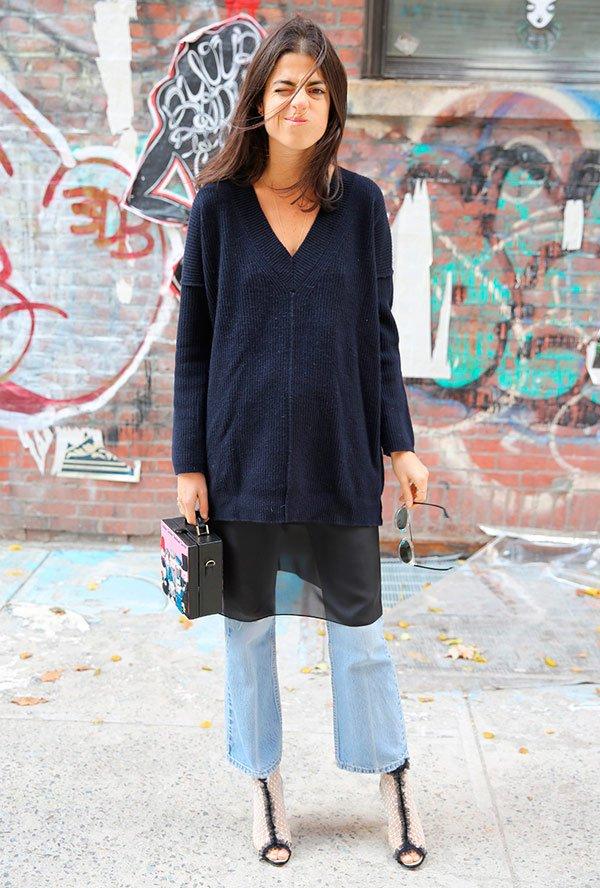 Leandra Medine - vestido-transparencia-tricot-calca-sobreposicao - transparência - inverno - street style