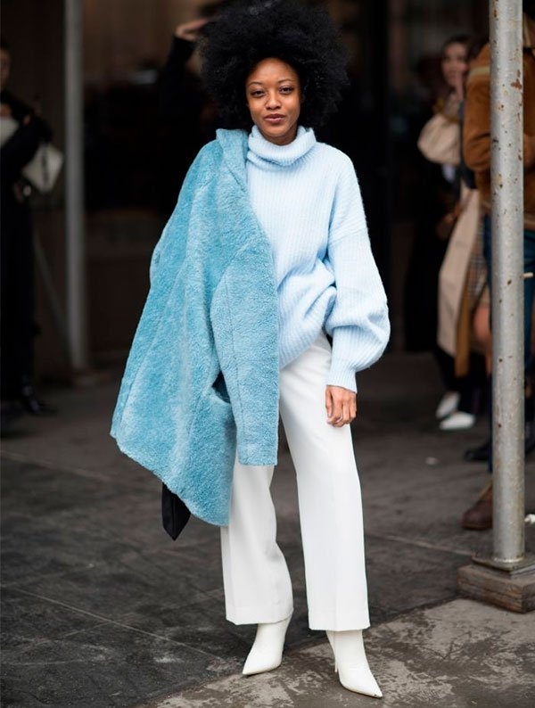 it girl - tricot azul - color blocking - inverno - street style