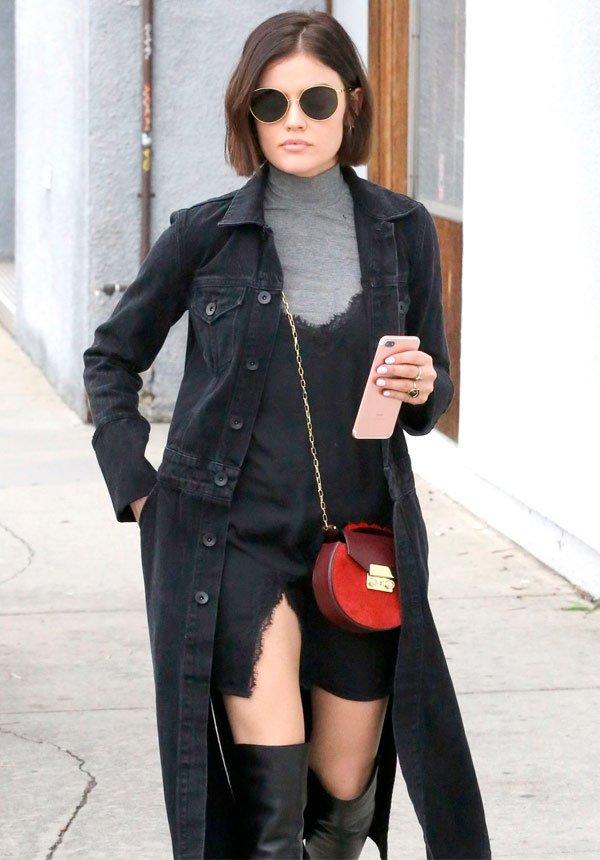 Lucy Hale - gola-alta-slip-dress-look - gola alta - meia estação - street style