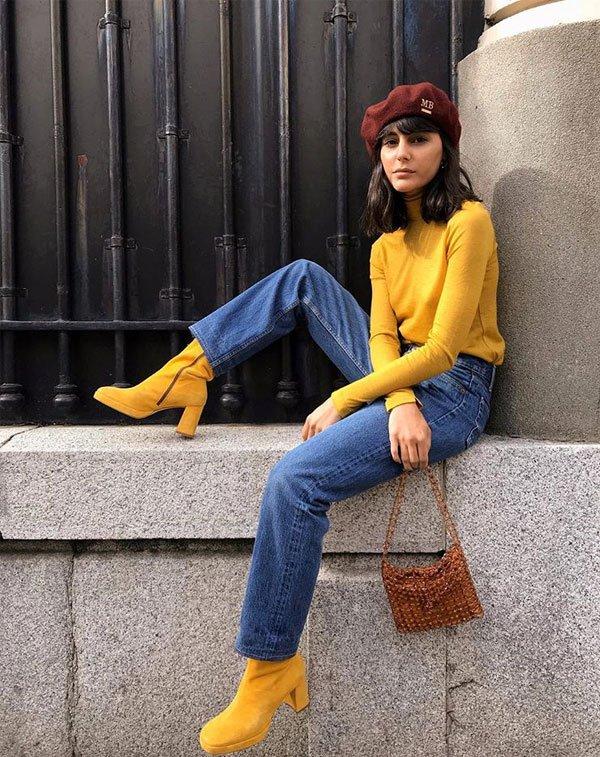 María Bernad - sueter-mostarda-calça-jeans-boina - boina - inverno - street style