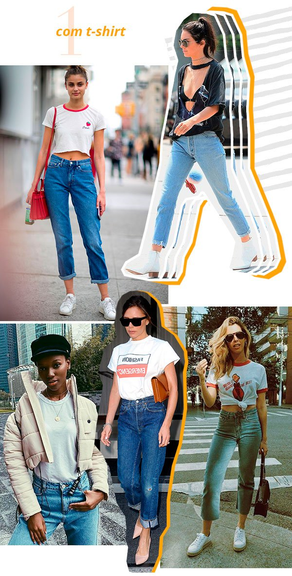 it girls - mom jeans - looks - tshirt - street style