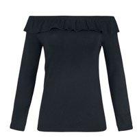 Blusão Feminino Em Tricô De Viscose Ombro A Ombro Com Babado