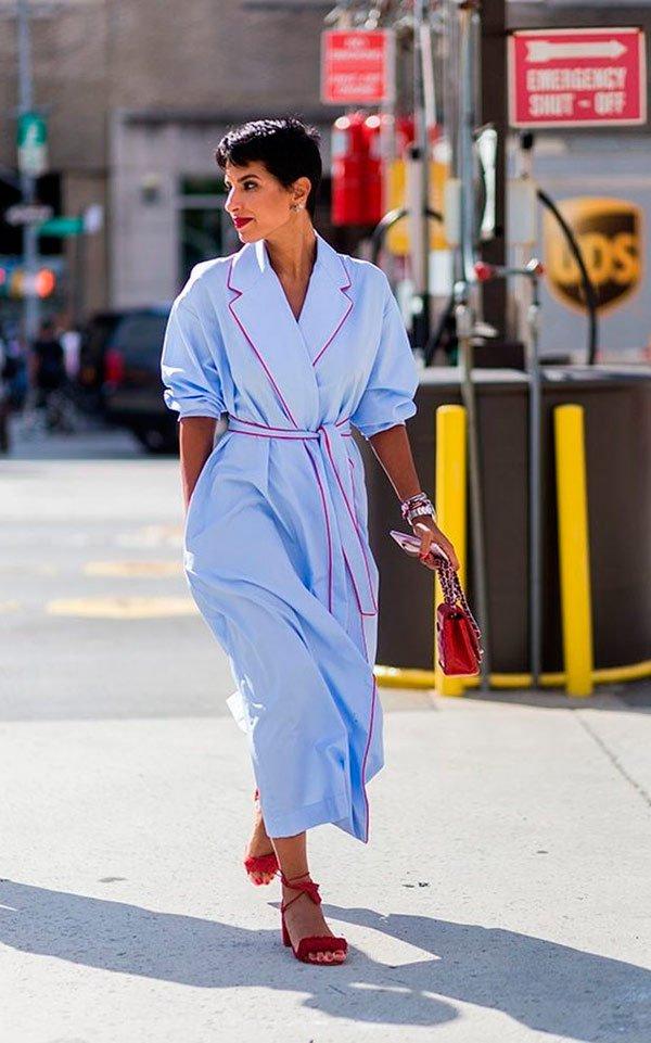 It Girl - look-pijama-robe-azul-vestido-amarração - pijama - Meia Estação - Street Style