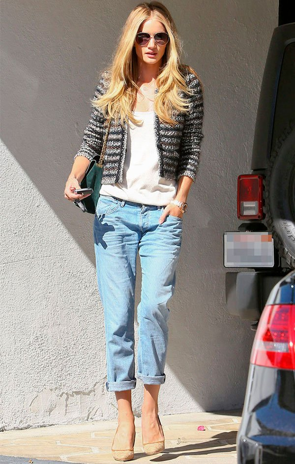 Rosie Huntington-Whiteley - casaco - tweed - verão - street style