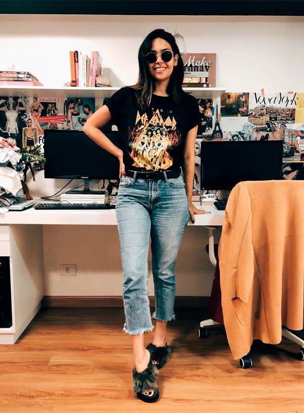 Samara Tavares - t-shirt-calça-jeans-slide-pelos - slide-pelos - meia estação - street style