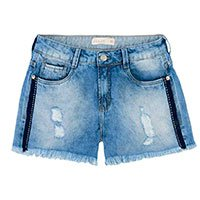 Shorts Jeans Lavação Estonada Com Frisos Laterais