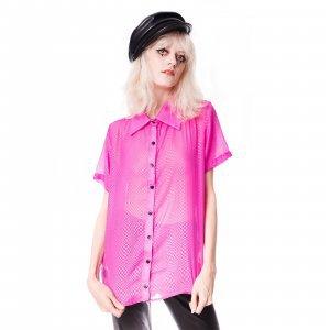Camisa De Chiffon Checkered Pink Tamanho: G - Cor: Rosa