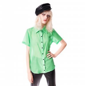 Camisa De Chiffon Checkered Verde Tamanho: G - Cor: Verde