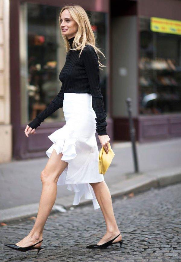 It Girl - saia-branca-slingback-preto-turtleneck-preto - sling back - Meia Estação - Street Style