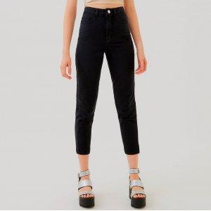 Calça Mom High Jeans Preto Tamanho: 34 - Cor: Preto