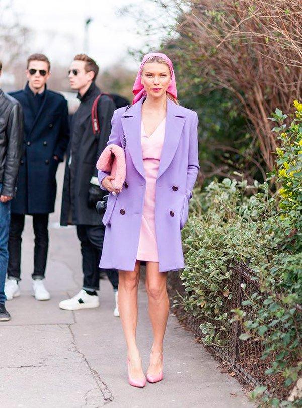 It Girl - casaco-lilas-lenço-rosa-scarpin-rosa - lenço - Meia Estação - Street Style