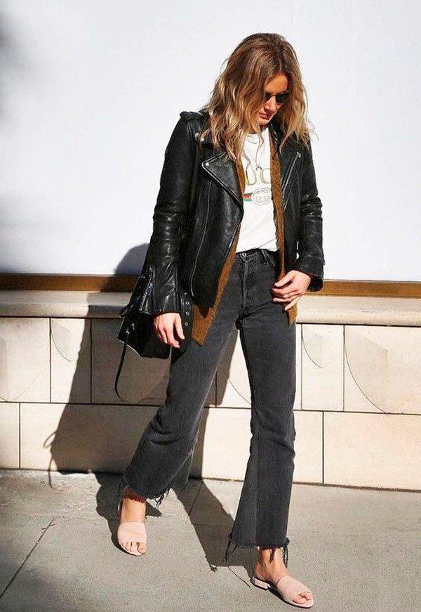 it girl - jaqueta-couro-calca-jeans-look - calça couro - meia estação - street style