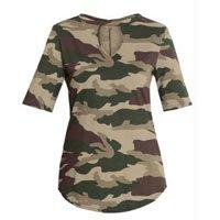 T-Shirt Camuflada Militar com Gola Choker