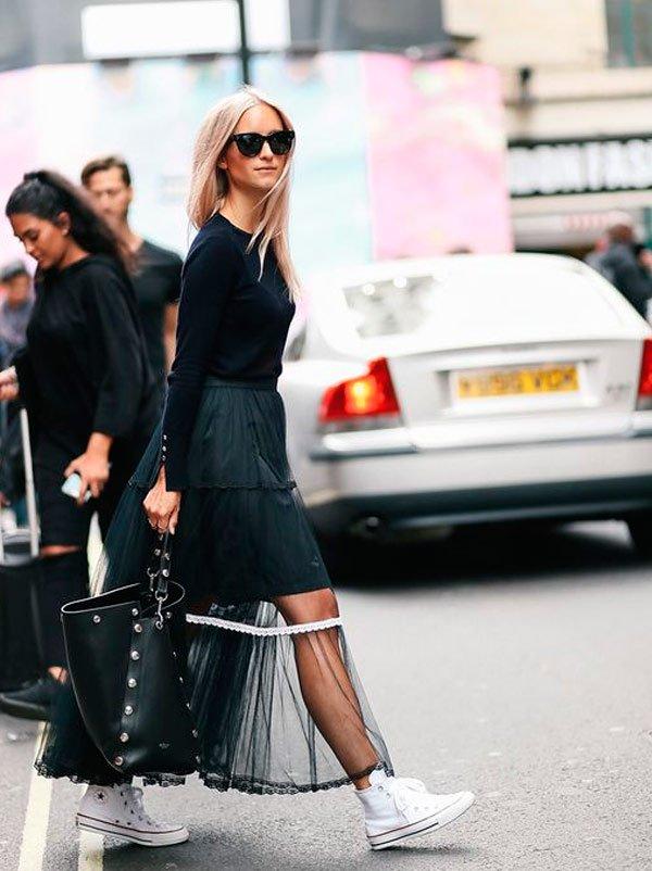 it-girl - tricot-vestido-transparente-converse-look - transparência - meia estação - street style