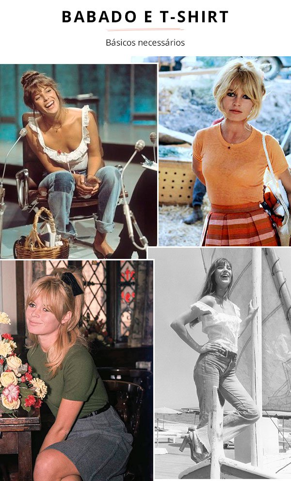 Jane Birkin e Brigitte Bardot - t-shirt e babados - vintage - verão e inverno - street style
