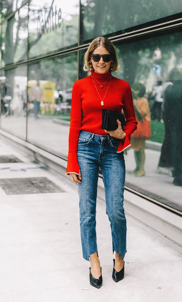 it girl - turtleneck-vermelha-calca-jeans-sapato-preto - turtleneck - meia estação - street style