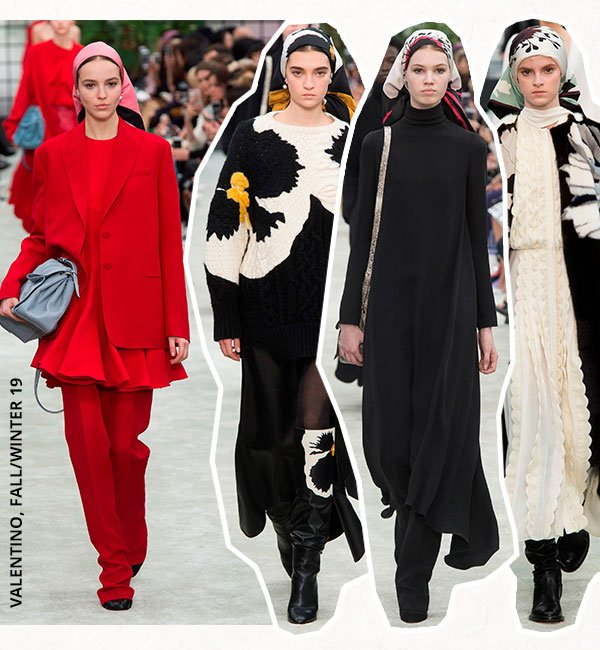 modelos - desfile - lenco cabeça - fall/winter - passarela valentino