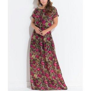 Vestido Quintess Floral Dark Com Manga Curta