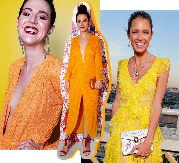 Vic Ceridono e Helena Bordon - amarelo - vestido de festa - verão - street style