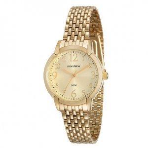 Relógio Clássico Visor E Pulseira Dourado