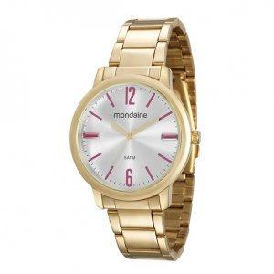 Relógio Feminino Dourado Marcadores Rosa Com Cristal