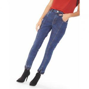 Calça Jeans Skinny Nervura Fenda