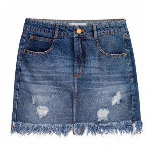 Saia Jeans Com Barra Franjada