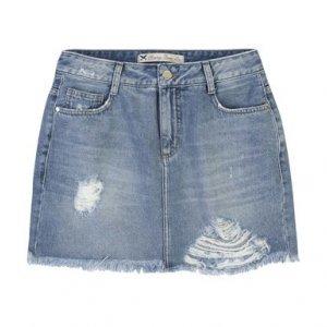 Saia Jeans Em Algodão Com Cintura Intermediária E Detalhes Destroyed
