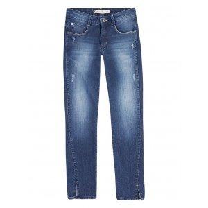 Calça Jeans Super Skinny Feminina Com Fendas Nas Barras