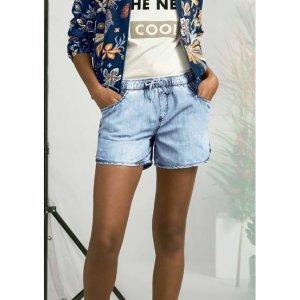 Shorts Jeans Esportivo Feminino Em Viscose Com Efeito Marmorizado