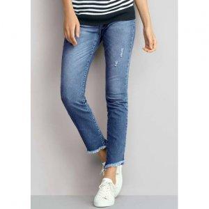 Calça Jeans Skinny Feminina Com Puídos E Barra Assimétrica Desfiada
