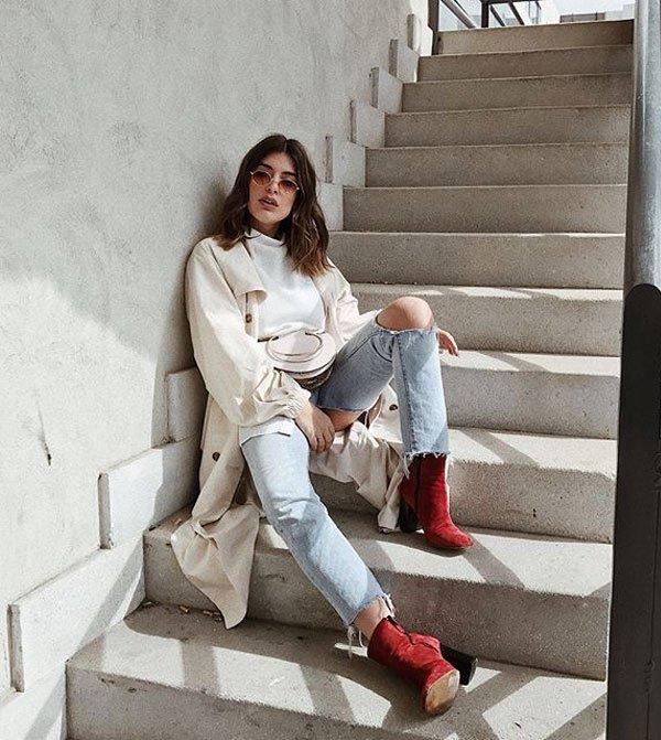 Aida Domenech - calca-jeans-overcoat-bota-vermelha - bota-vermelha - inverno - street style