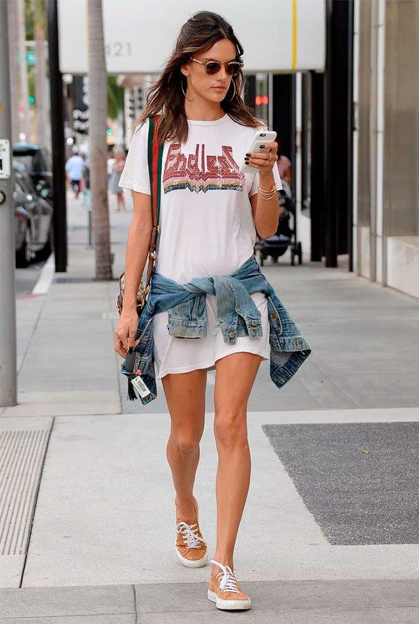 alessandra ambrosio - tshirt - vestido - look - branco