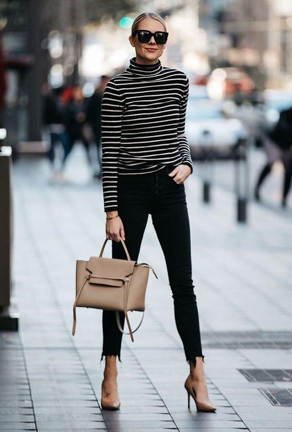 Amy Jackson - blusa-listrada-gola-alta - gola alta - inverno - street style