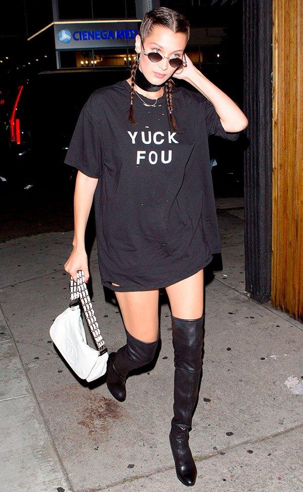 Bella Hadid - tshirt - fuck you - vestido - como usar