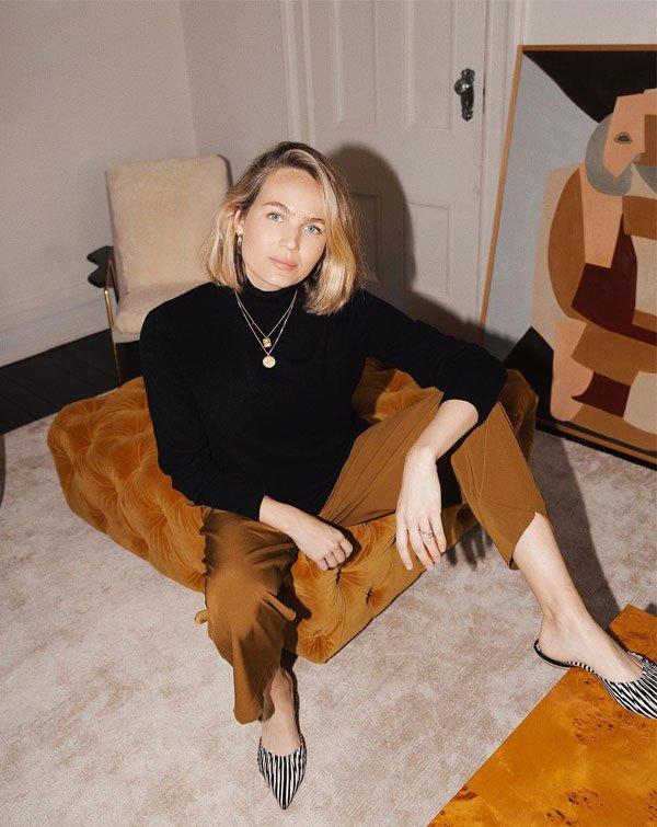 Brooke Testoni - blusa-gola-alta-calça-caramelo - gola-alta - inverno - street style