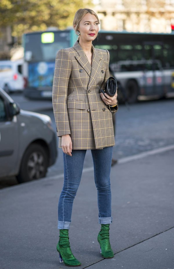 it girl - blazer-xadrez-calca-jeans-bota-verde - xadrez - meia estação - street style