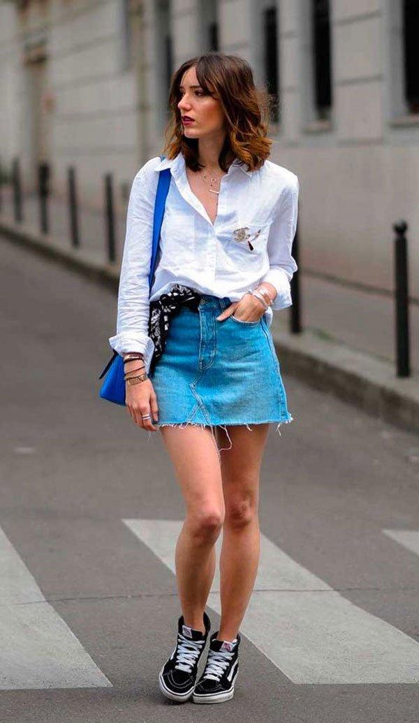 it-girl - camisa-saia-jeans-vans - tênis - verão - street style