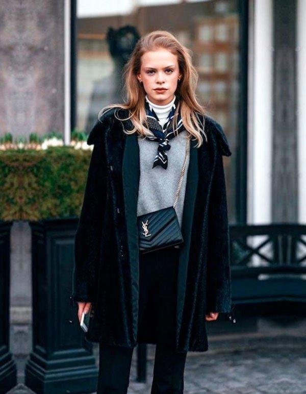 it girl - casaco-lenco-sueter-gola-alta-calca - preto - inverno - street style