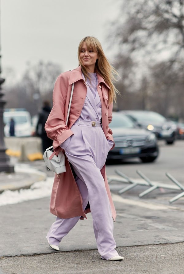 it girl - casaco-rose-conjunto-lilas - candy color - inverno - street style