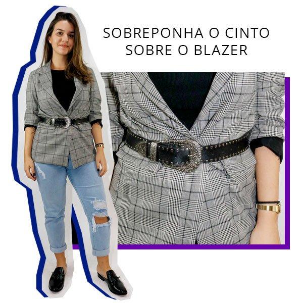 cinto - lara lincoln - sobre o blazer - xadrez - look