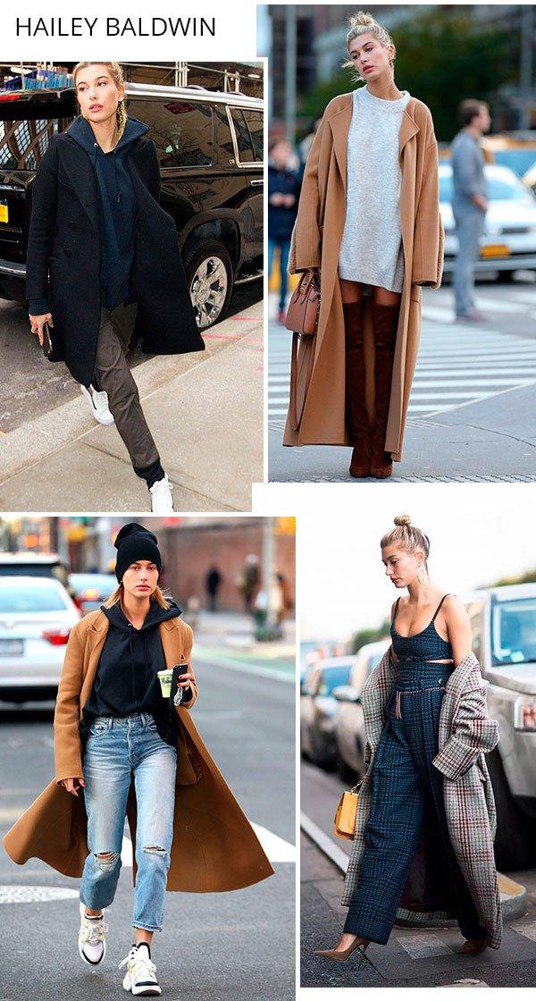 hailey baldwin - overcoat - trend - como usar - peca