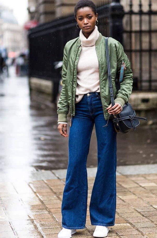 it girl - casaco-verde-tricot-gola-alta - tricot - inverno - street style