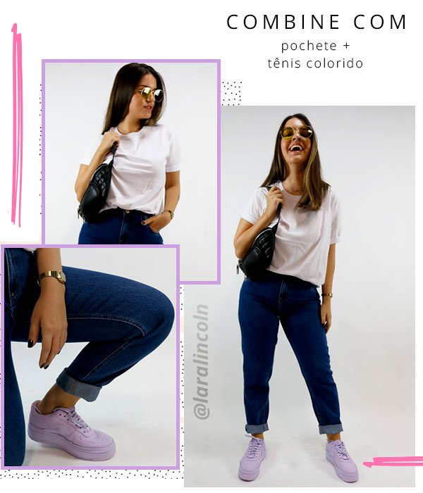 lara lincoln - look - mom jeans - tshirt branca - steal the look