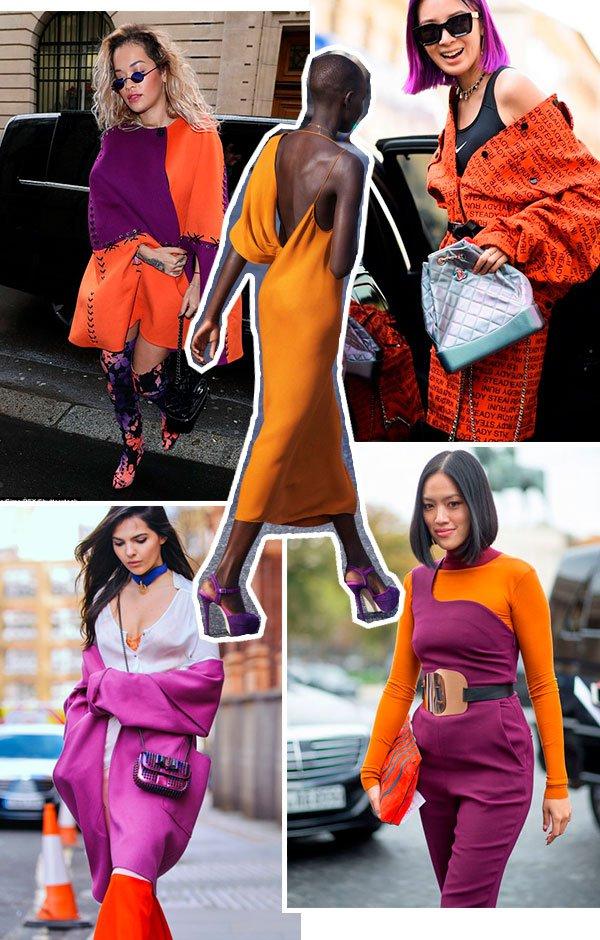 laranja - roxo - looks - trend - como usar